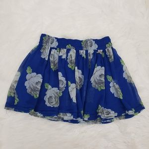 Abercrombie & Fitch Floral Flowy Mini Skirt Blue